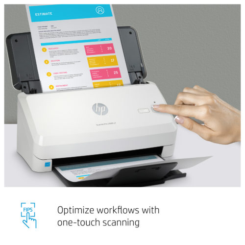 6FW06A HP SCANJET PRO 2000 S2 SHEETFEED SCANNER, 35PPM, MAX 1200DPI, DUPLEX, 1YR