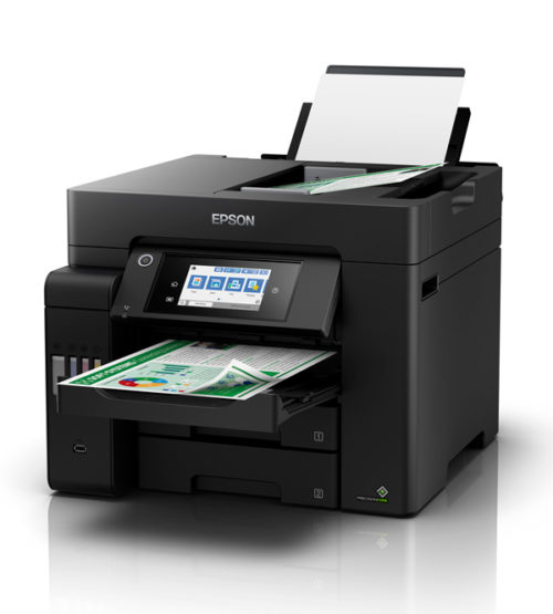 C11CJ30501 Epson EcoTank Pro ET-5800 Colour Multifunction Inkjet Printer With Fax - A4, 25ppm, Duplex Printing & Scanning, Wireless & Wired Network, Wi-Fi Direct, USB, 4 Ink Tanks, Input Capacity: 250 Sheets, 50-Sheet ADF, 4800 x 2400dpi, Black, 1 Year Warranty