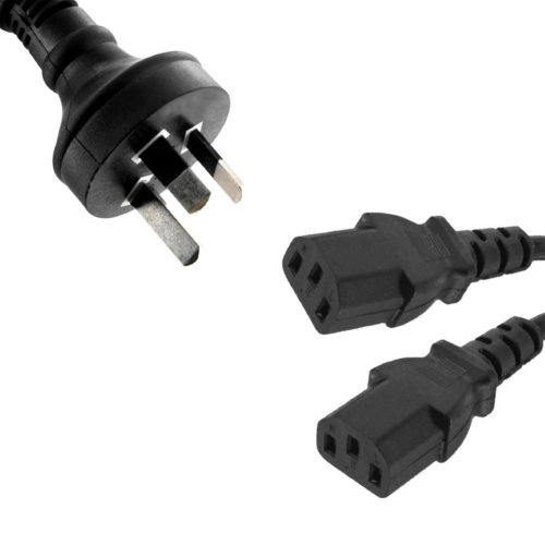 RC-3085AU-010 8ware Power Cable from 3-Pin AU Male to 2 IEC C13 Female plug in 1m