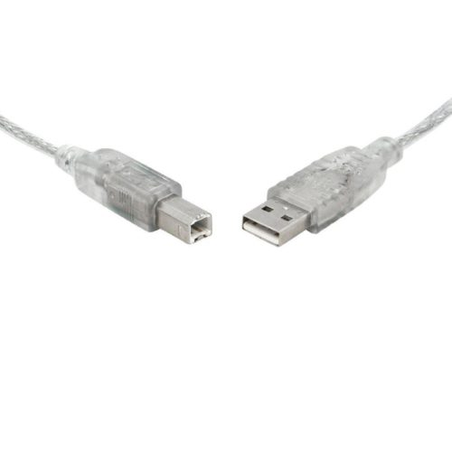 UC-2001AB 8ware USB 2.0 Certified Cable A-B 1m Transparent Metal Sheath UL Approved