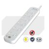 PAD-661SW Unbranded 6-Way Power Board (661SW) with Individual Switches and Surge Protection