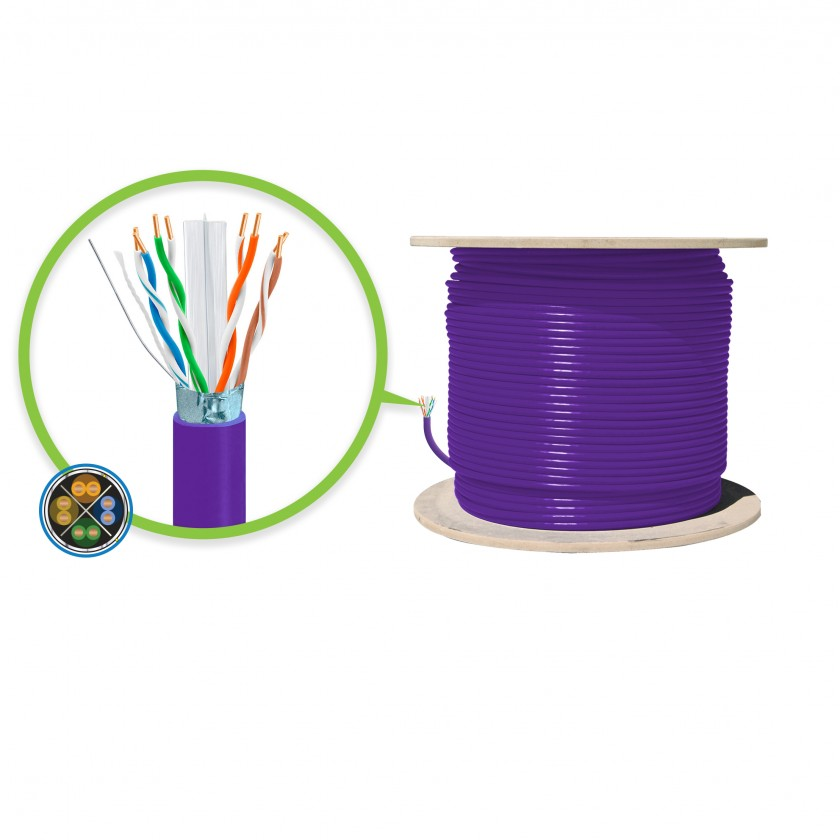 Serveredge CAT6A 305m Network Cable - FUTP Solid LSZH 23AWG - PURPLE