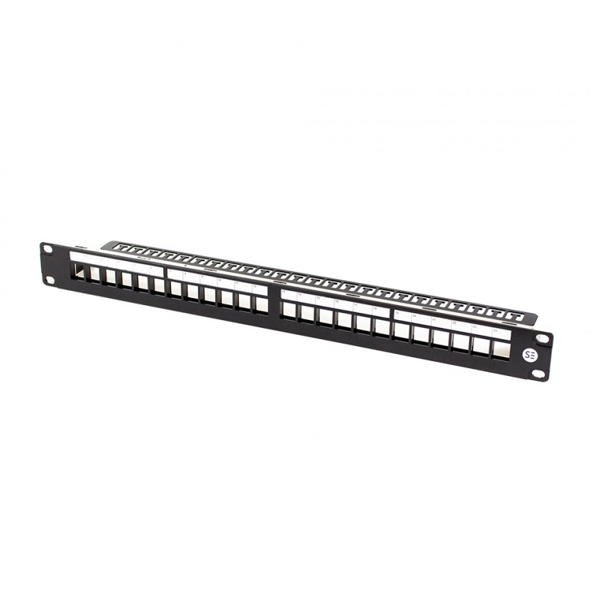 Serveredge 24 Port Unloaded Shielded CAT5E CAT6 CAT6A Patch Panel Frame.To be used with KSSC6AQ or KSSC6AQ-10 Serveredge Universal Cat6A STP RJ45 Modular Keystone Jack.