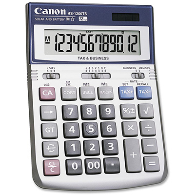 HS1200TS Canon HS-1200TS 12 DIGIT DUAL POWER TAX & BUSINESS FUNCTION