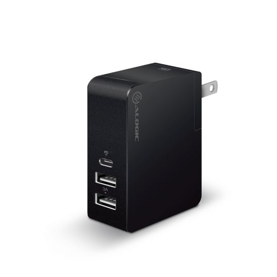 ALOGIC 3 Port USB-C & Dual USB-A Travel Power Adapter - USB-C (30W PD) & Dual USB-A (15W) - BLACK COLOR - Includes Adapters for AU UK EU and US pouch and white PS inner blister
